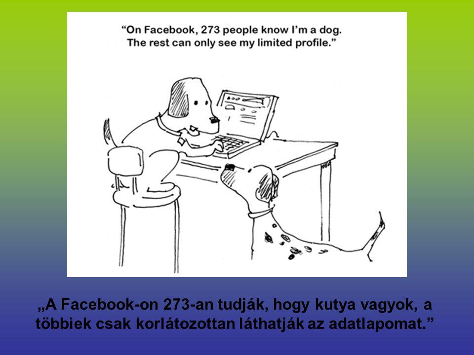 """""""A Facebook-on 273-an tudják, hogy kutya vagyok, a többiek csak korlátozottan láthatják az adatlapomat."""""""