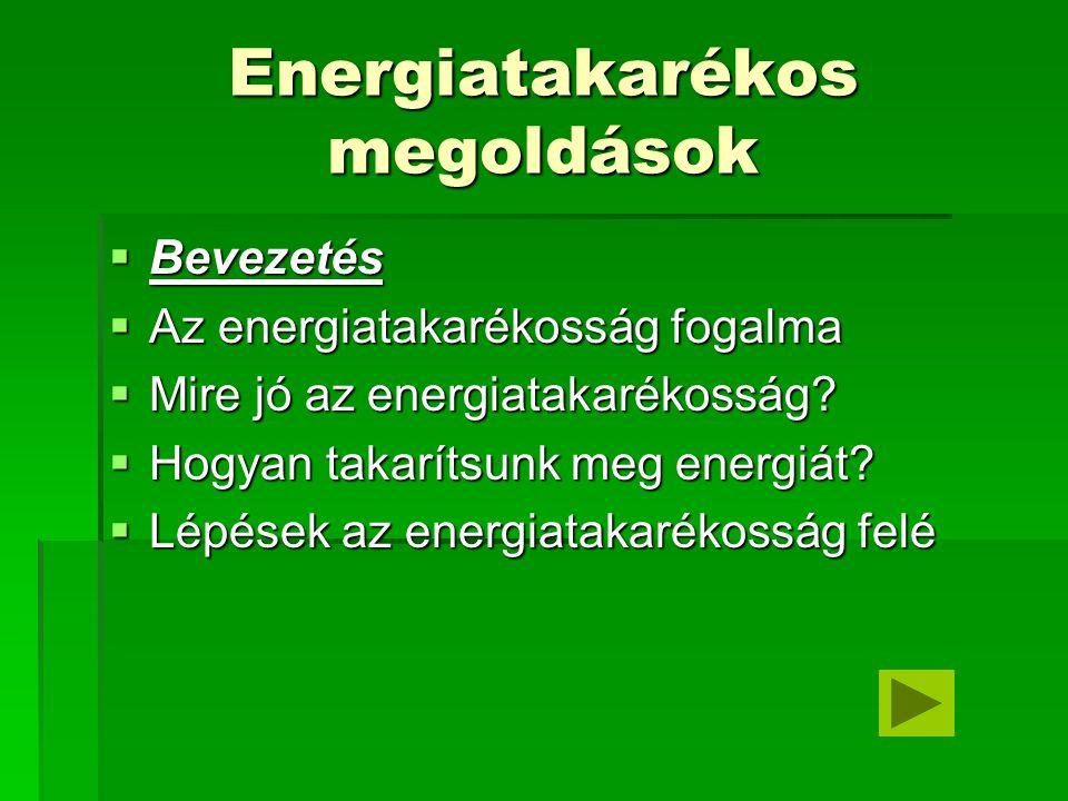 Energiatakarékos megoldások  Bevezetés  Az energiatakarékosság fogalma  Mire jó az energiatakarékosság?  Hogyan takarítsunk meg energiát?  Lépése