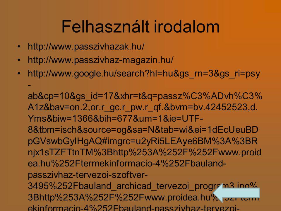 Felhasznált irodalom http://www.passzivhazak.hu/ http://www.passzivhaz-magazin.hu/ http://www.google.hu/search?hl=hu&gs_rn=3&gs_ri=psy - ab&cp=10&gs_i