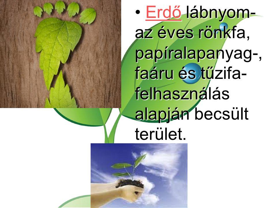 Erdő lábnyom- az éves rönkfa, papíralapanyag-, faáru és tűzifa- felhasználás alapján becsült terület.Erdő lábnyom- az éves rönkfa, papíralapanyag-, fa