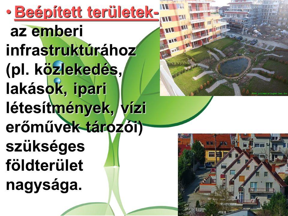 Beépített területek- az emberi infrastruktúrához (pl. közlekedés, lakások, ipari létesítmények, vízi erőművek tározói) szükséges földterület nagysága.
