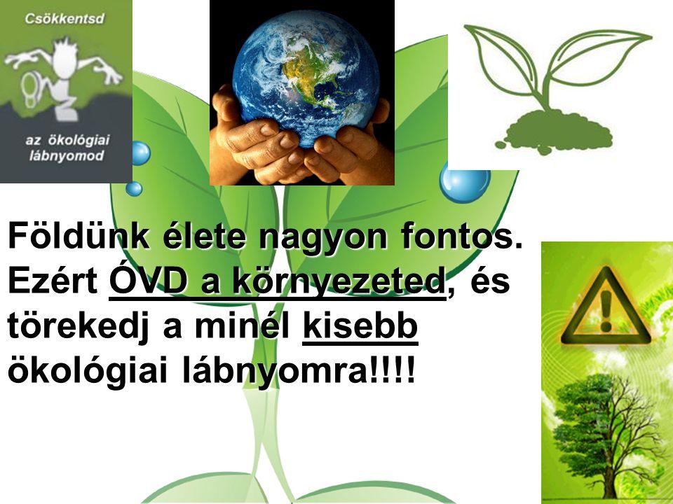 Földünk élete nagyon fontos. Ezért ÓVD a környezeted, és törekedj a minél kisebb ökológiai lábnyomra!!!!