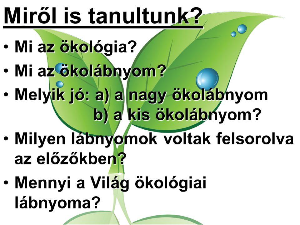 Miről is tanultunk? Mi az ökológia?Mi az ökológia? Mi az ökolábnyom?Mi az ökolábnyom? Melyik jó: a) a nagy ökolábnyom b) a kis ökolábnyom?Melyik jó: a