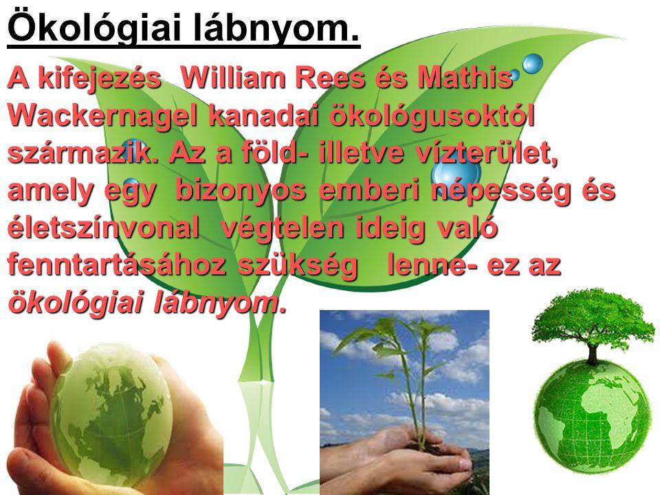 Ökológiai lábnyom. A kifejezés William Rees és Mathis Wackernagel kanadai ökológusoktól származik. Az a föld- illetve vízterület, amely egy bizonyos e