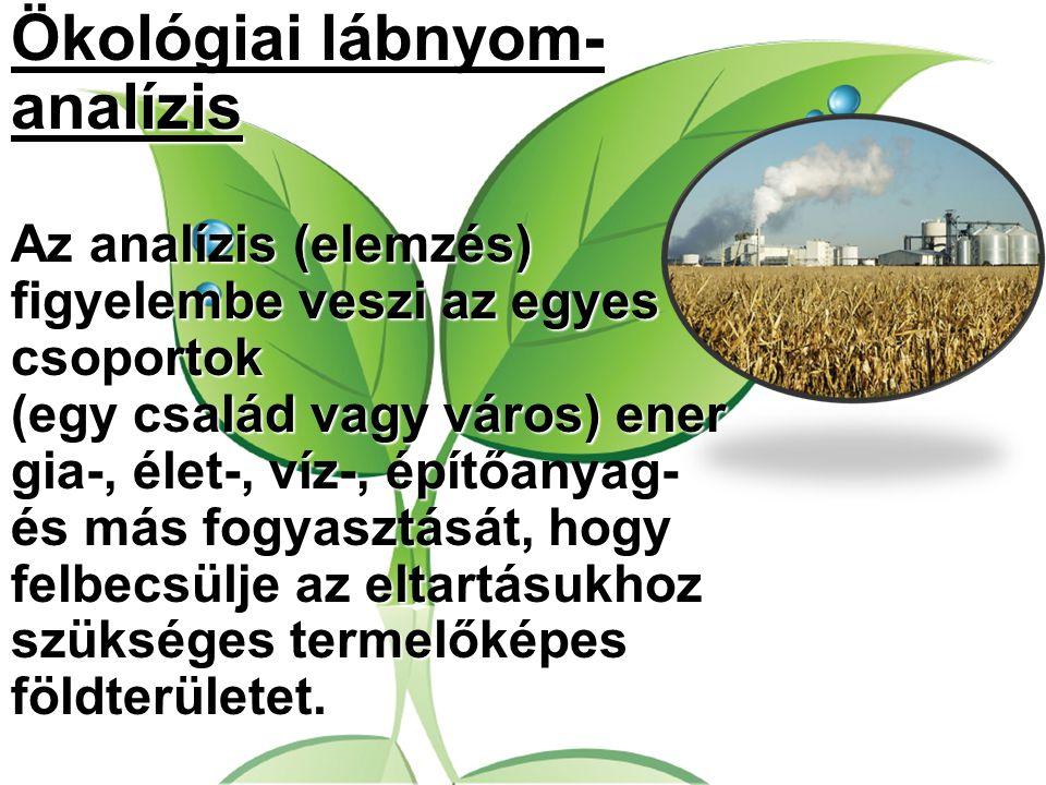 Ökológiai lábnyom- analízis Az analízis (elemzés) figyelembe veszi az egyes csoportok (egy család vagy város) ener gia-, élet-, víz-, építőanyag- és m