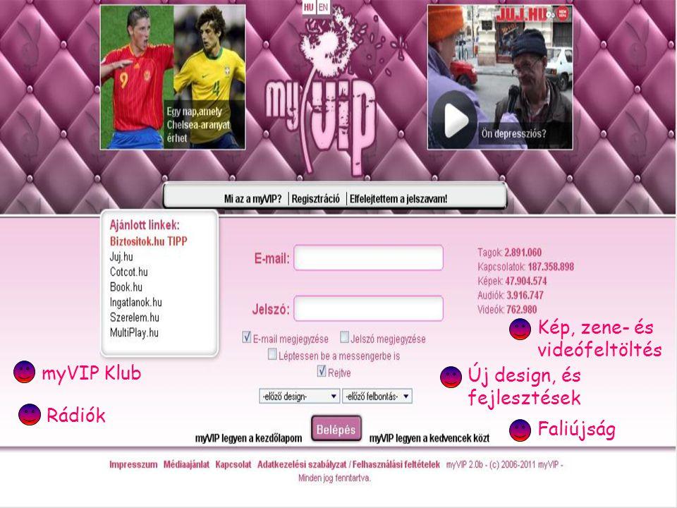 Kép, zene- és videófeltöltés myVIP Klub Rádiók Faliújság Új design, és fejlesztések