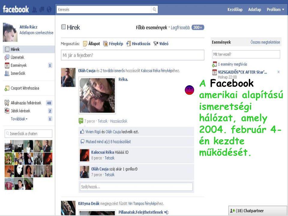 A Facebook amerikai alapítású ismeretségi hálózat, amely 2004. február 4- én kezdte működését.