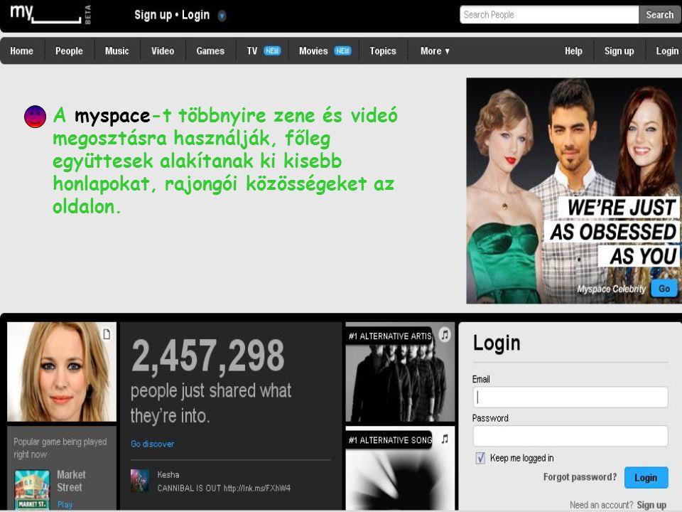 A myspace-t többnyire zene és videó megosztásra használják, főleg együttesek alakítanak ki kisebb honlapokat, rajongói közösségeket az oldalon.