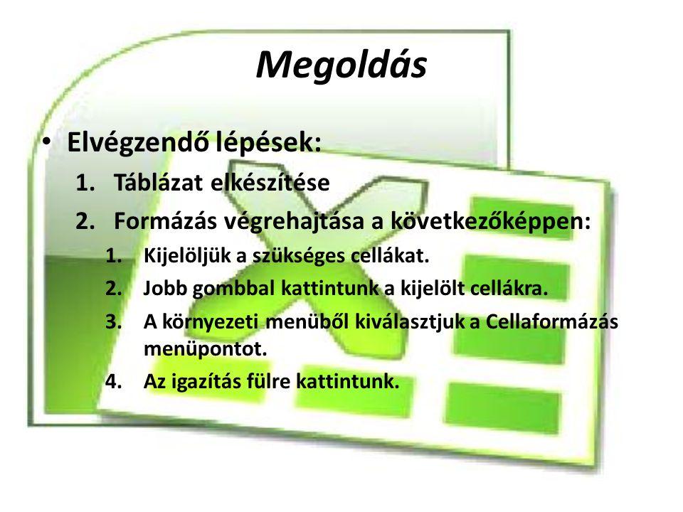 Megoldás Elvégzendő lépések: 1.Táblázat elkészítése 2.Formázás végrehajtása a következőképpen: 1.Kijelöljük a szükséges cellákat. 2.Jobb gombbal katti