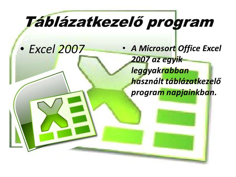 Táblázatkezelő program A Microsort Office Excel 2007 az egyik leggyakrabban használt táblázatkezelő program napjainkban. Excel 2007