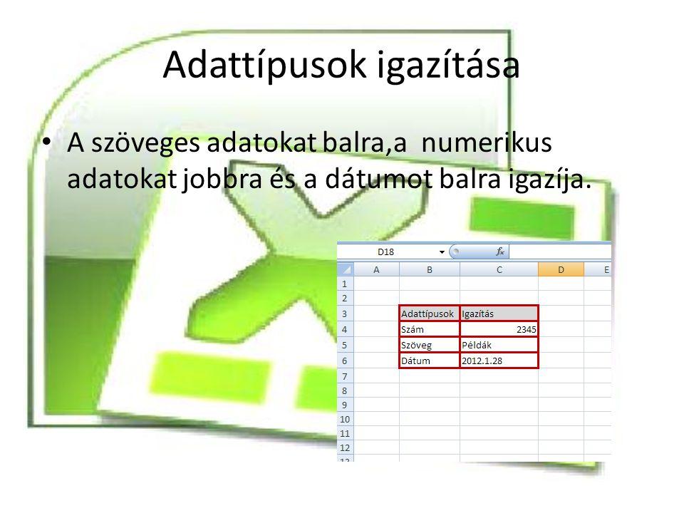 Adattípusok igazítása A szöveges adatokat balra,a numerikus adatokat jobbra és a dátumot balra igazíja.