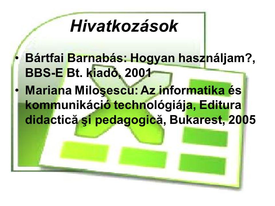 Hivatkozások Bártfai Barnabás: Hogyan használjam?, BBS-E Bt. kiadó, 2001 Mariana Miloşescu: Az informatika és kommunikáció technológiája, Editura dida