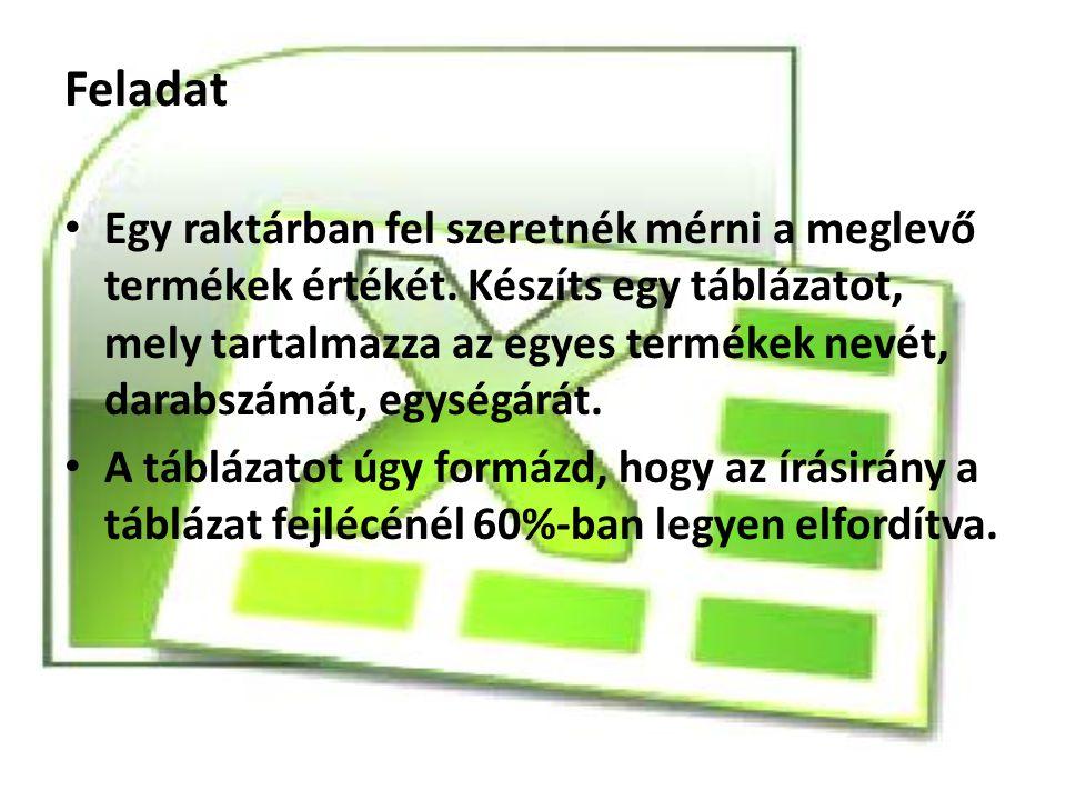 Megoldás Elvégzendő lépések: 1.Táblázat elkészítése 2.Formázás végrehajtása a következőképpen: 1.Kijelöljük a szükséges cellákat.