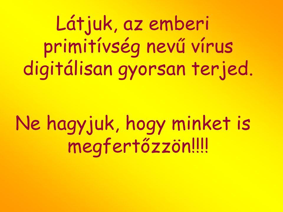 Látjuk, az emberi primitívség nevű vírus digitálisan gyorsan terjed. Ne hagyjuk, hogy minket is megfertőzzön!!!!