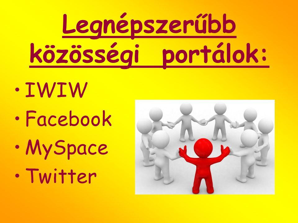Legnépszerűbb közösségi portálok: IWIW Facebook MySpace Twitter