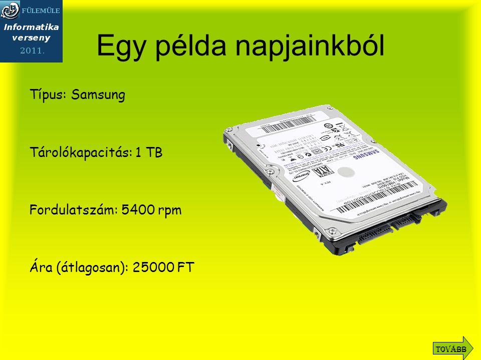 Egy példa napjainkból Típus: Samsung Tárolókapacitás: 1 TB Fordulatszám: 5400 rpm Ára (átlagosan): 25000 FT Tovább