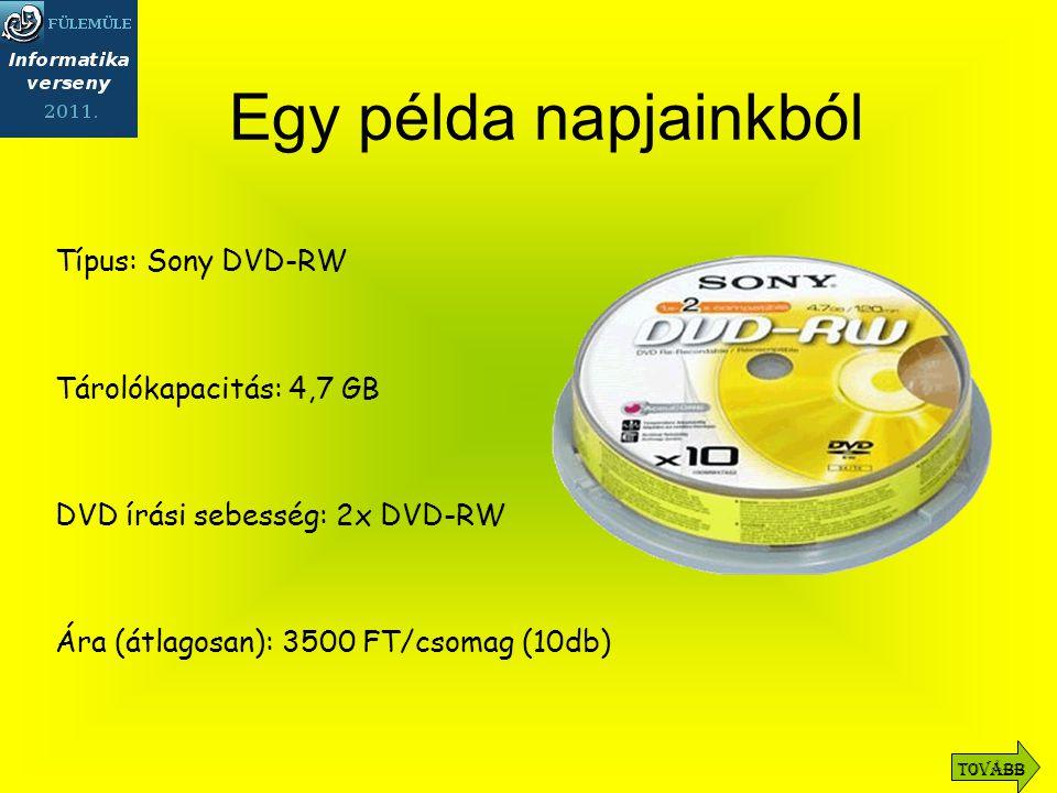 Típus: Sony DVD-RW Tárolókapacitás: 4,7 GB DVD írási sebesség: 2x DVD-RW Ára (átlagosan): 3500 FT/csomag (10db) Egy példa napjainkból Tovább