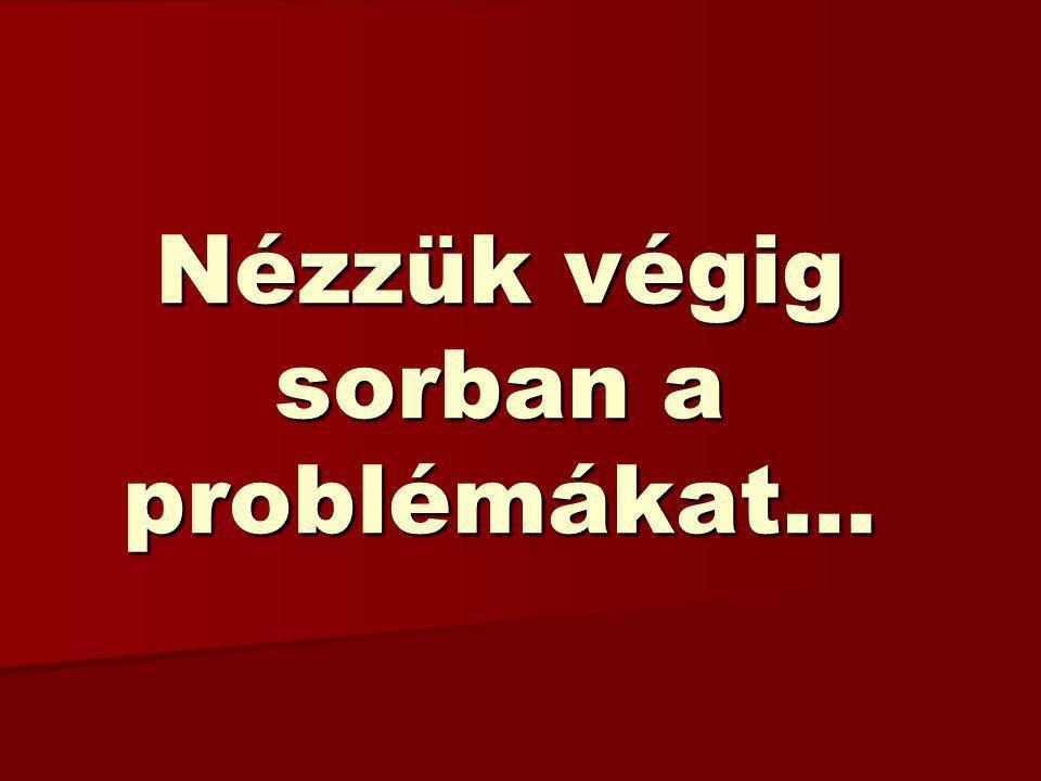 Nézzük végig sorban a problémákat…