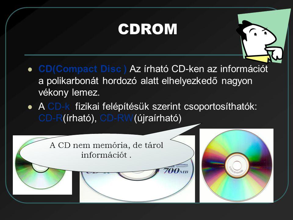 CDROM CD(Compact Disc ) Az írható CD-ken az információt a polikarbonát hordozó alatt elhelyezkedő nagyon vékony lemez. A CD-k fizikai felépítésük szer