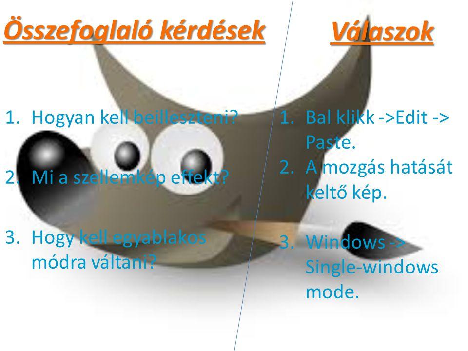 Összefoglaló kérdések 1.Hogyan kell beilleszteni? 2.Mi a szellemkép effekt? 3.Hogy kell egyablakos módra váltani? 1.Bal klikk ->Edit -> Paste. 2.A moz