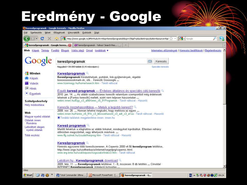 Eredmény - Google