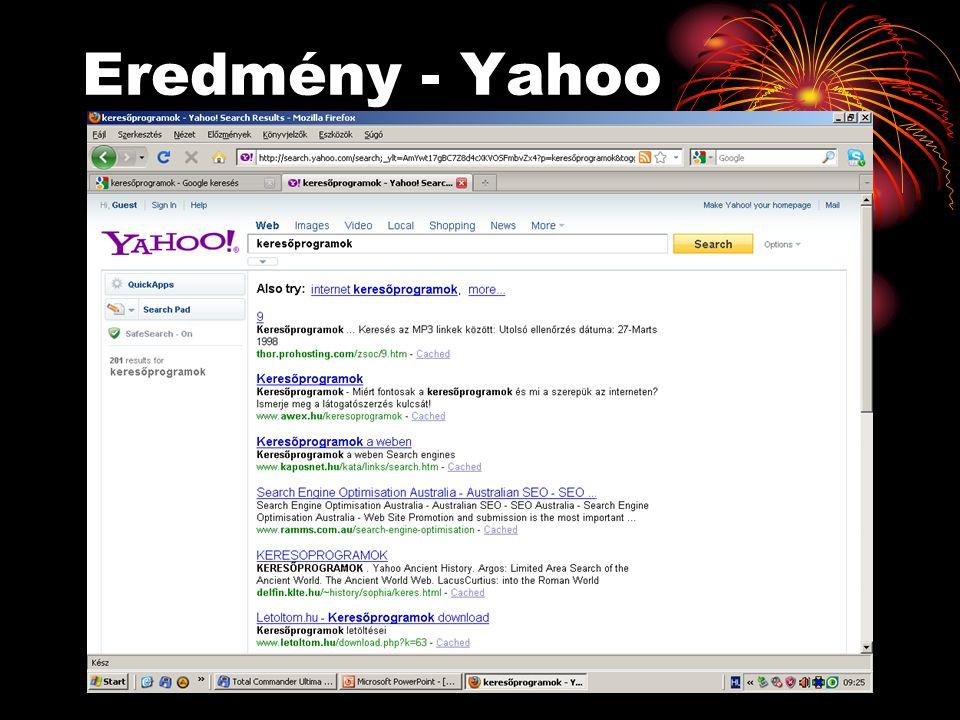 Eredmény - Yahoo
