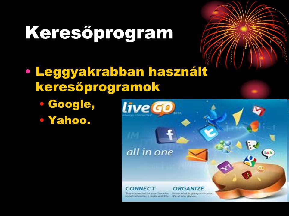 Keresőprogram Leggyakrabban használt keresőprogramok Google, Yahoo.