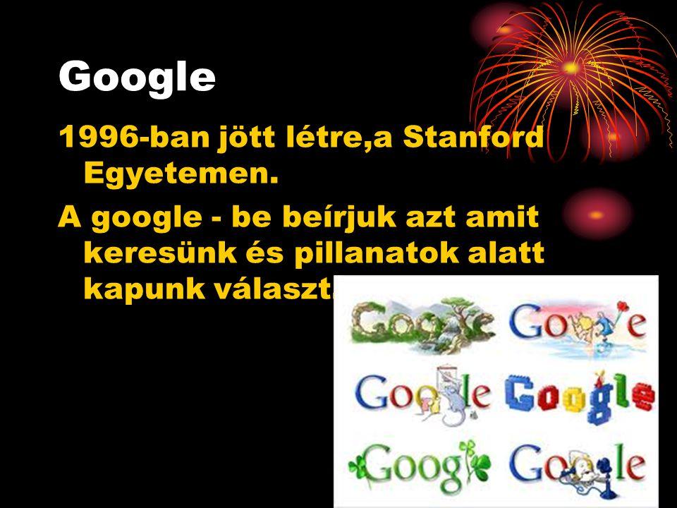 Google 1996-ban jött létre,a Stanford Egyetemen.