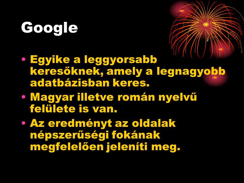 Google Egyike a leggyorsabb keresőknek, amely a legnagyobb adatbázisban keres.