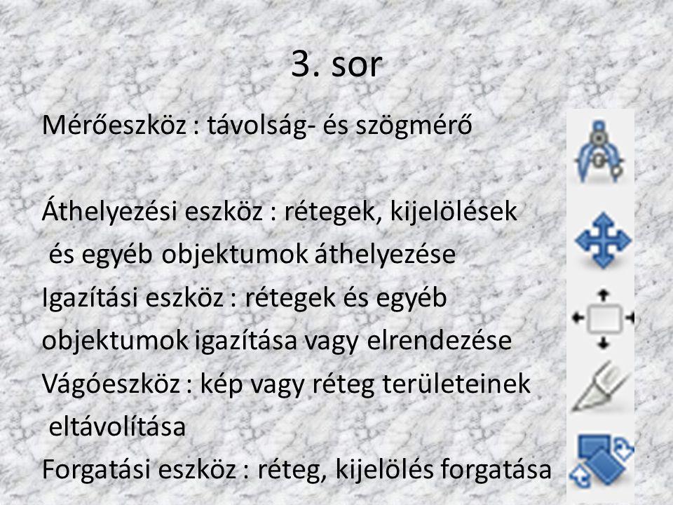 3. sor Mérőeszköz : távolság- és szögmérő Áthelyezési eszköz : rétegek, kijelölések és egyéb objektumok áthelyezése Igazítási eszköz : rétegek és egyé