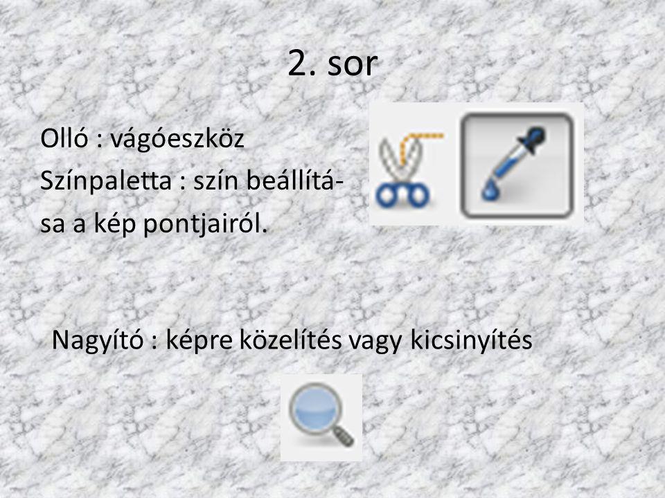 2. sor Olló : vágóeszköz Színpaletta : szín beállítá- sa a kép pontjairól. Nagyító : képre közelítés vagy kicsinyítés