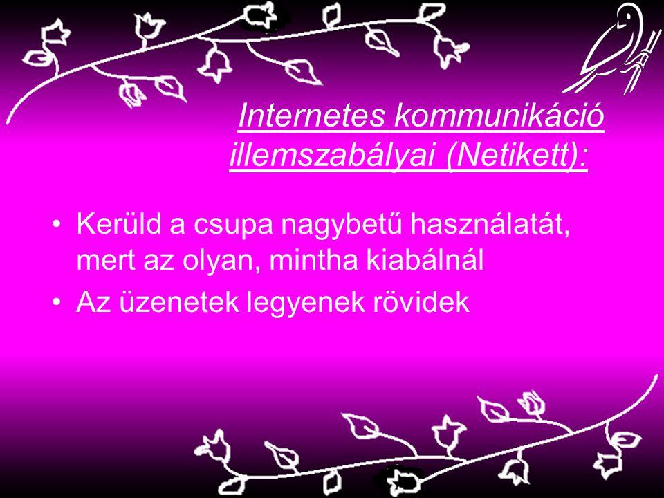 Internetes kommunikáció illemszabályai (Netikett): Kerüld a csupa nagybetű használatát, mert az olyan, mintha kiabálnál Az üzenetek legyenek rövidek