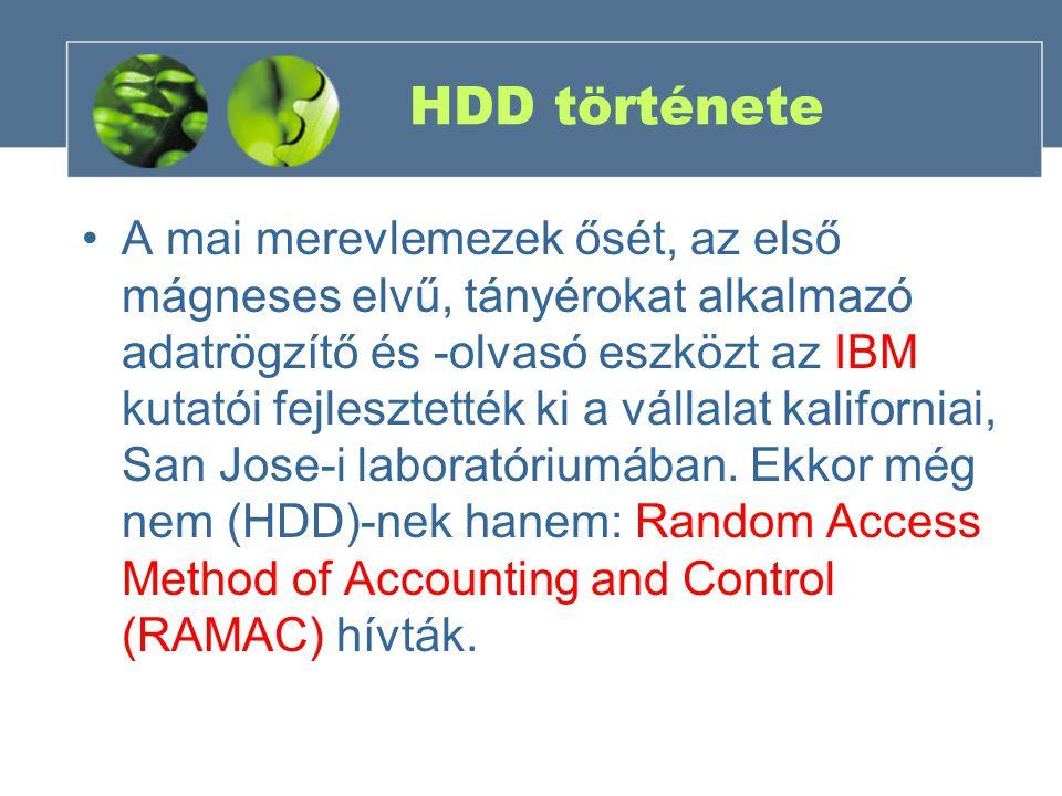 HDD története A mai merevlemezek ősét, az első mágneses elvű, tányérokat alkalmazó adatrögzítő és -olvasó eszközt az IBM kutatói fejlesztették ki a vá