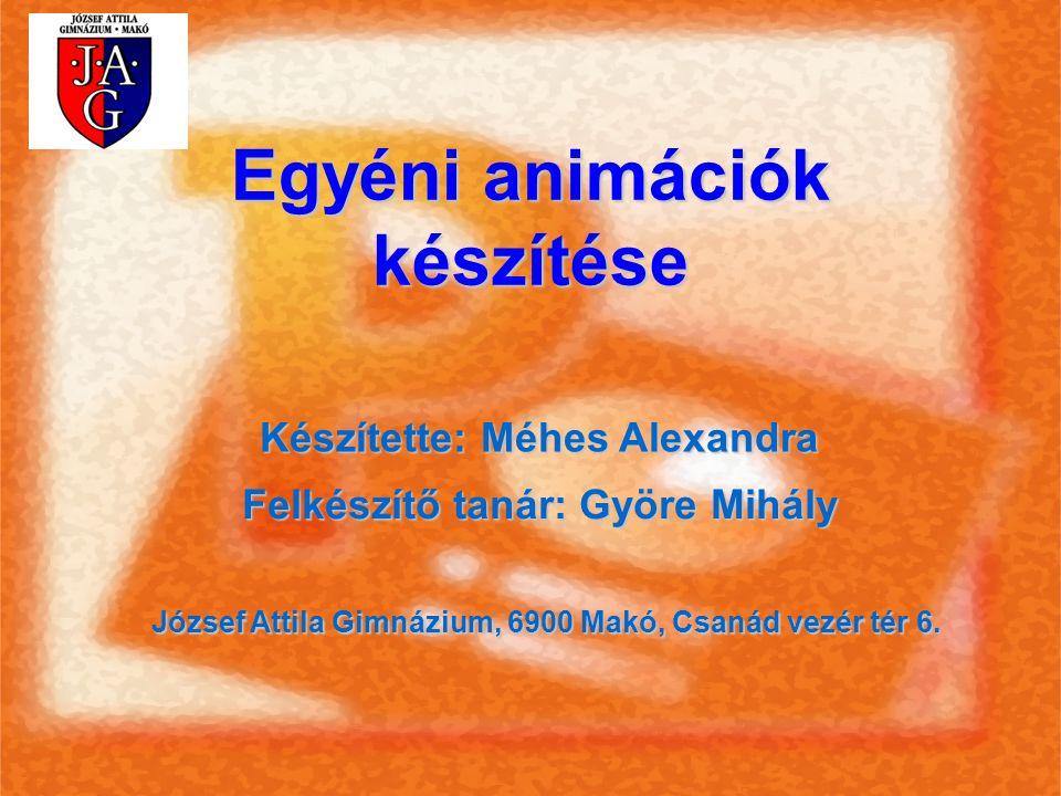 Egyéni animációk készítése Készítette: Méhes Alexandra Felkészítő tanár: Györe Mihály József Attila Gimnázium, 6900 Makó, Csanád vezér tér 6.