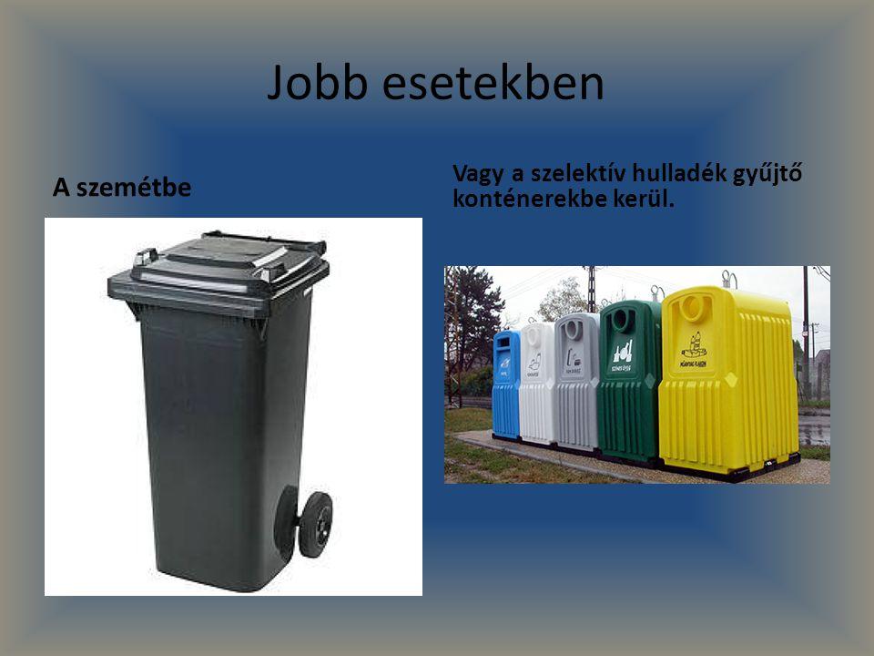 Jobb esetekben A szemétbe Vagy a szelektív hulladék gyűjtő konténerekbe kerül.