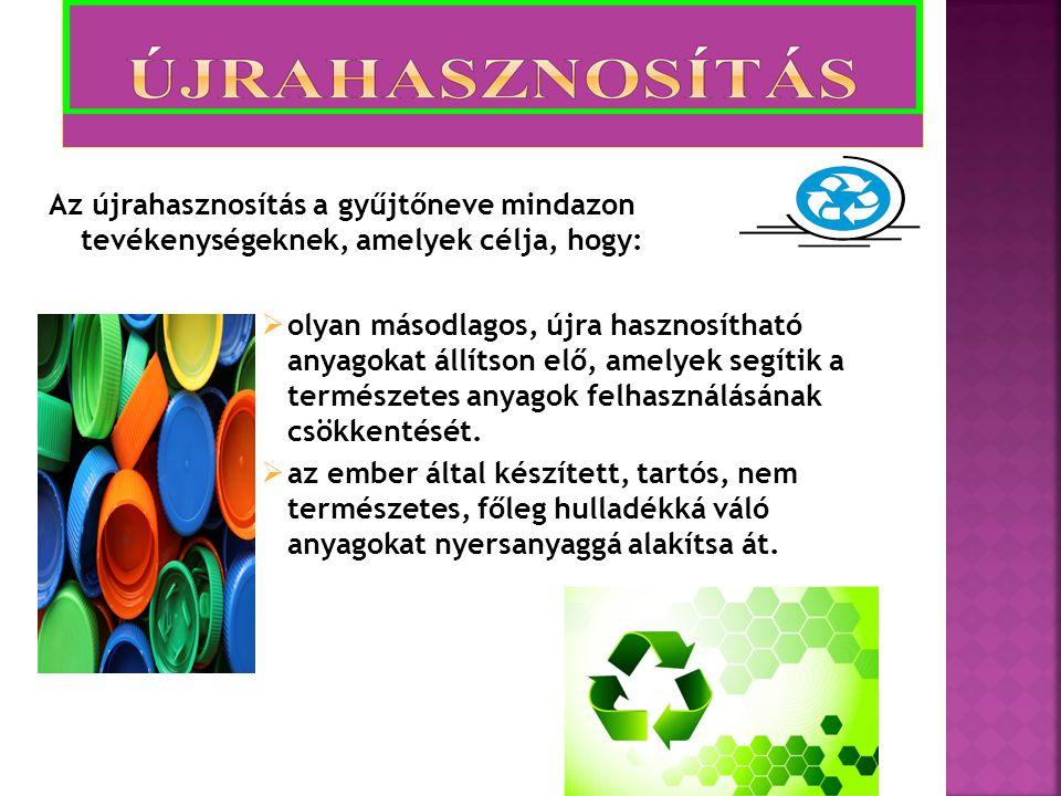 Az újrahasznosítás a gyűjtőneve mindazon tevékenységeknek, amelyek célja, hogy:  olyan másodlagos, újra hasznosítható anyagokat állítson elő, amelyek segítik a természetes anyagok felhasználásának csökkentését.