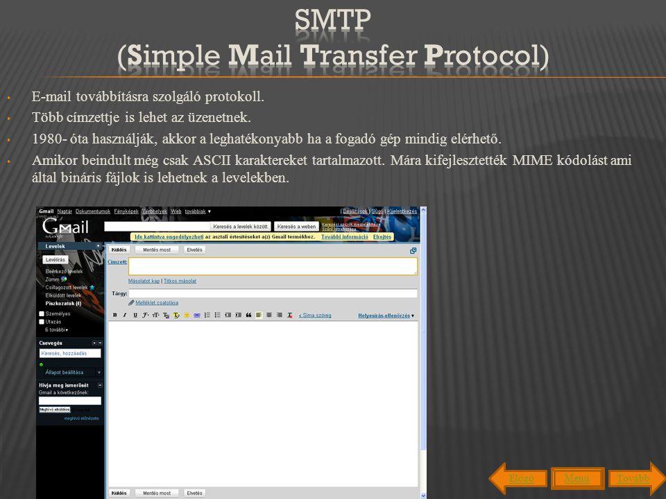 E-mail továbbításra szolgáló protokoll. Több címzettje is lehet az üzenetnek. 1980- óta használják, akkor a leghatékonyabb ha a fogadó gép mindig elér