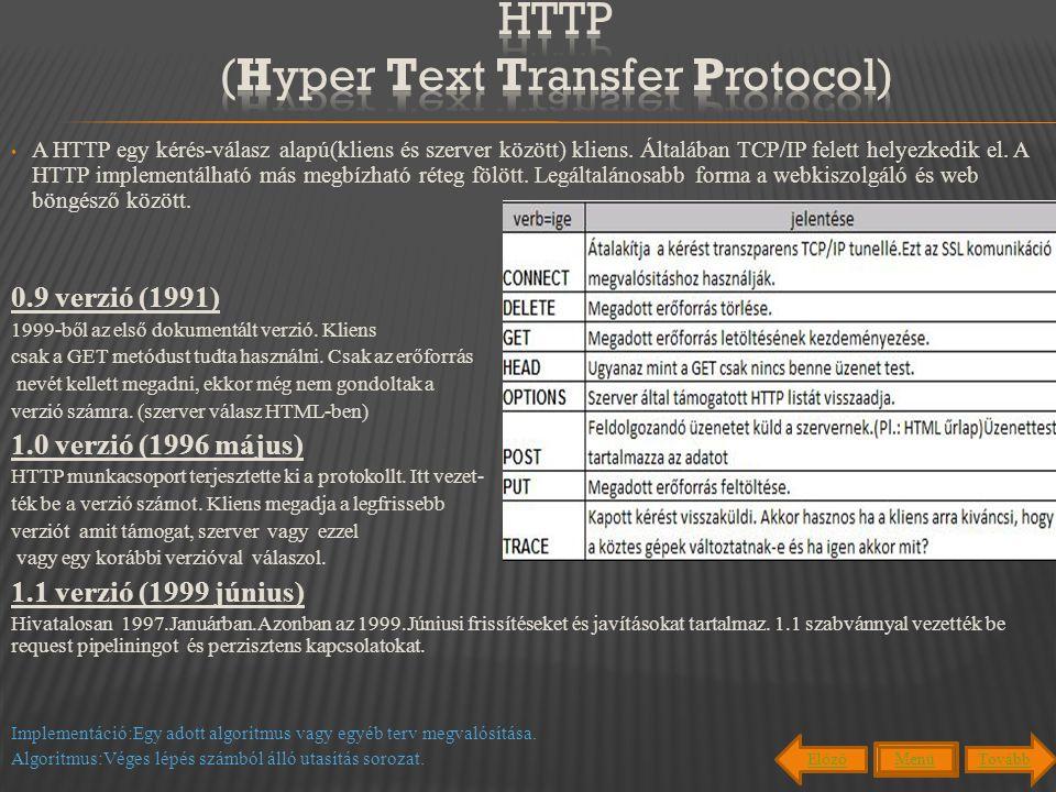 A HTTP egy kérés-válasz alapú(kliens és szerver között) kliens. Általában TCP/IP felett helyezkedik el. A HTTP implementálható más megbízható réteg fö