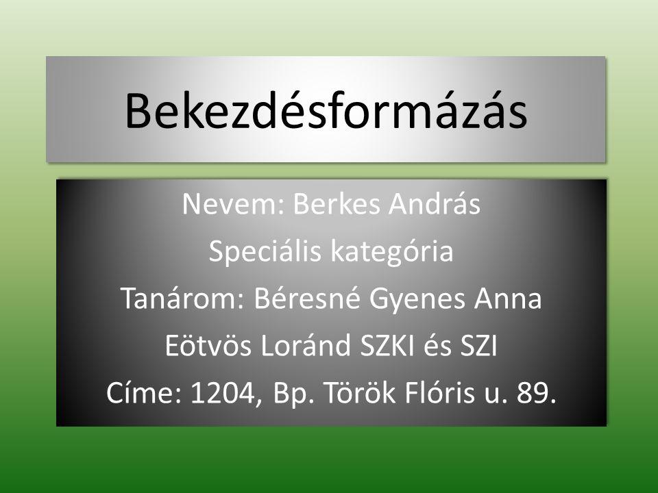 Bekezdésformázás Nevem: Berkes András Speciális kategória Tanárom: Béresné Gyenes Anna Eötvös Loránd SZKI és SZI Címe: 1204, Bp. Török Flóris u. 89. N