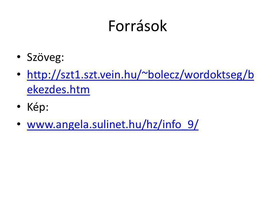 Források Szöveg: http://szt1.szt.vein.hu/~bolecz/wordoktseg/b ekezdes.htm Kép: www.angela.sulinet.hu/hz/info_9/