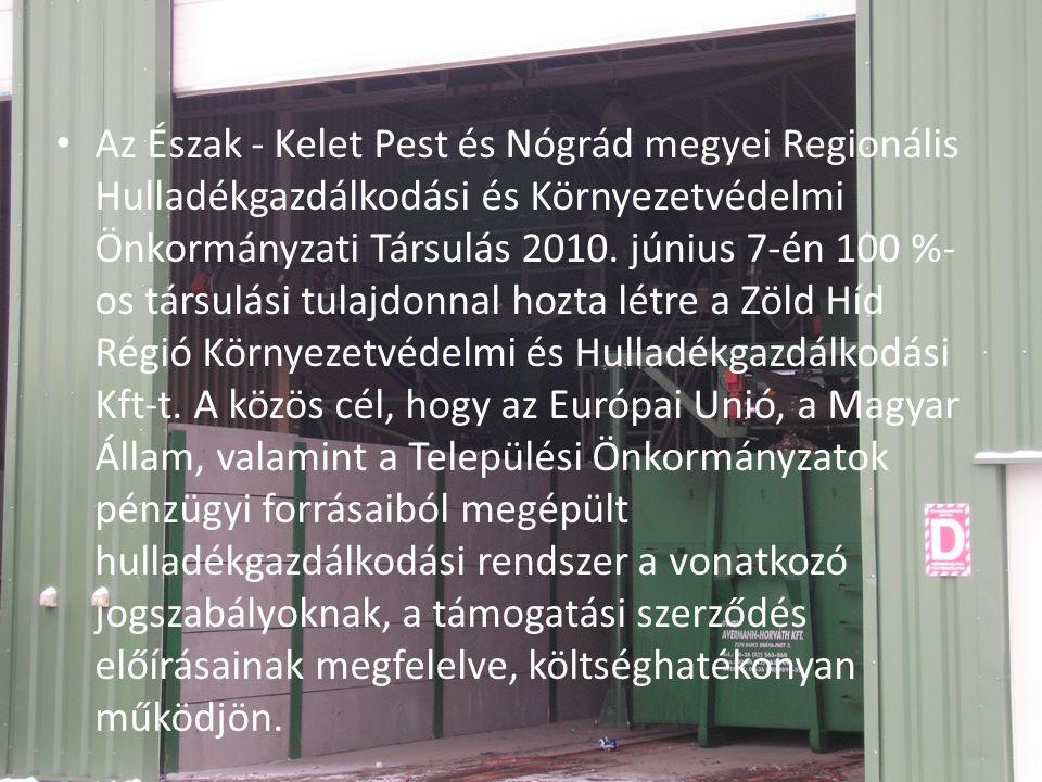 Az Észak - Kelet Pest és Nógrád megyei Regionális Hulladékgazdálkodási és Környezetvédelmi Önkormányzati Társulás 2010.