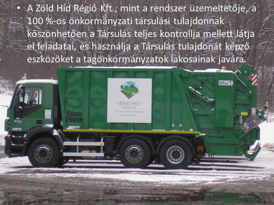 A Zöld Híd Régió Kft., mint a rendszer üzemeltetője, a 100 %-os önkormányzati társulási tulajdonnak köszönhetően a Társulás teljes kontrollja mellett látja el feladatai, és használja a Társulás tulajdonát képző eszközöket a tagönkormányzatok lakosainak javára.