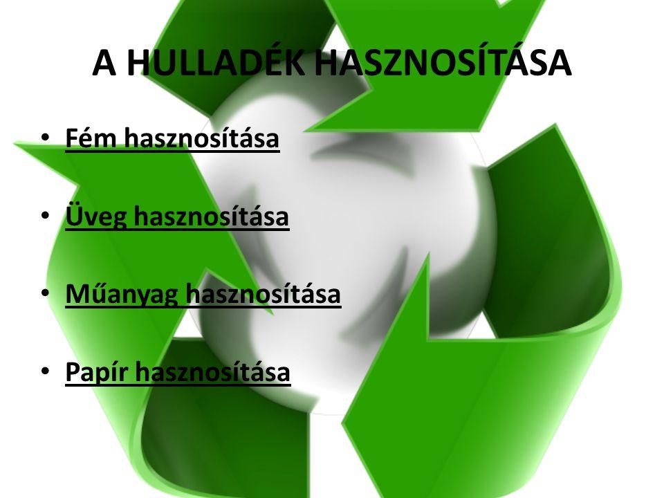 A HULLADÉK HASZNOSÍTÁSA Fém hasznosítása Üveg hasznosítása Műanyag hasznosítása Papír hasznosítása