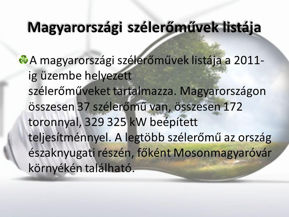 Magyarországi szélerőművek listája Magyarországi szélerőművek listája A magyarországi szélerőművek listája a 2011- ig üzembe helyezett szélerőműveket