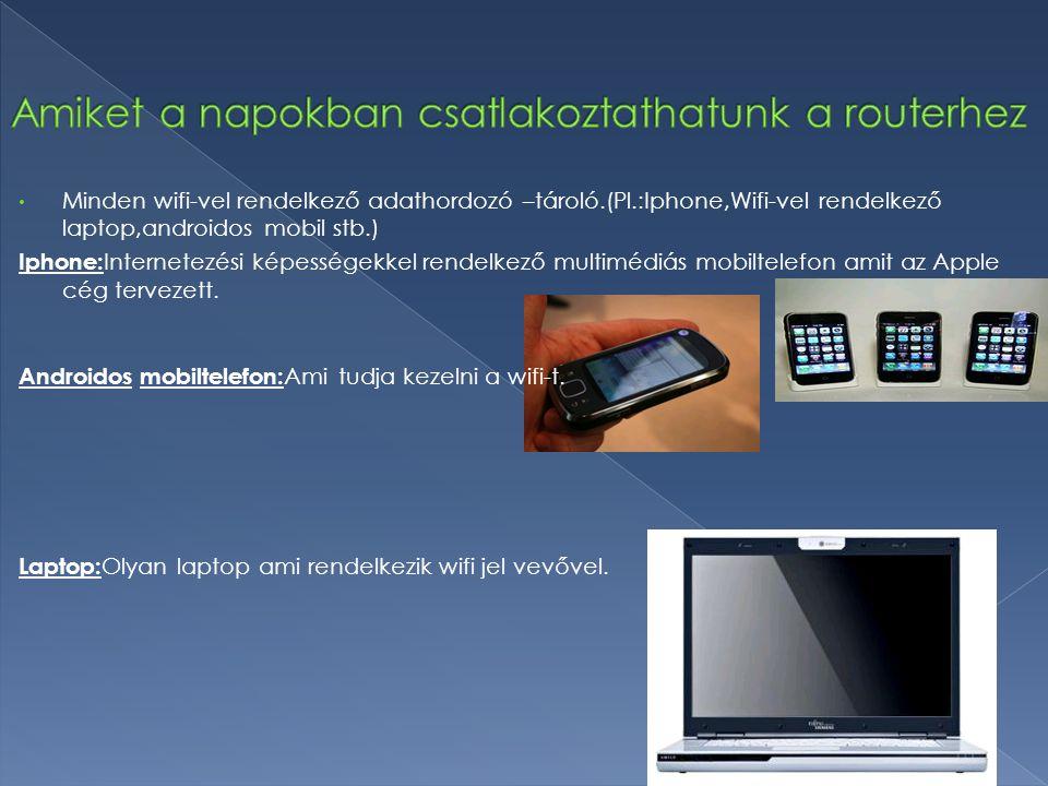 Minden wifi-vel rendelkező adathordozó –tároló.(Pl.:Iphone,Wifi-vel rendelkező laptop,androidos mobil stb.) Iphone: Internetezési képességekkel rendel