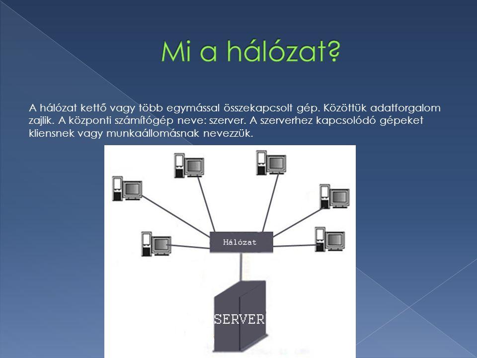 A hálózat kettő vagy több egymással összekapcsolt gép. Közöttük adatforgalom zajlik. A központi számítógép neve: szerver. A szerverhez kapcsolódó gépe
