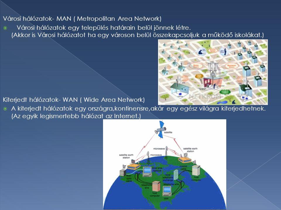 Városi hálózatok- MAN ( Metropolitan Area Network)  Városi hálózatok egy település határain belül jönnek létre. (Akkor is Városi hálózatot ha egy vár
