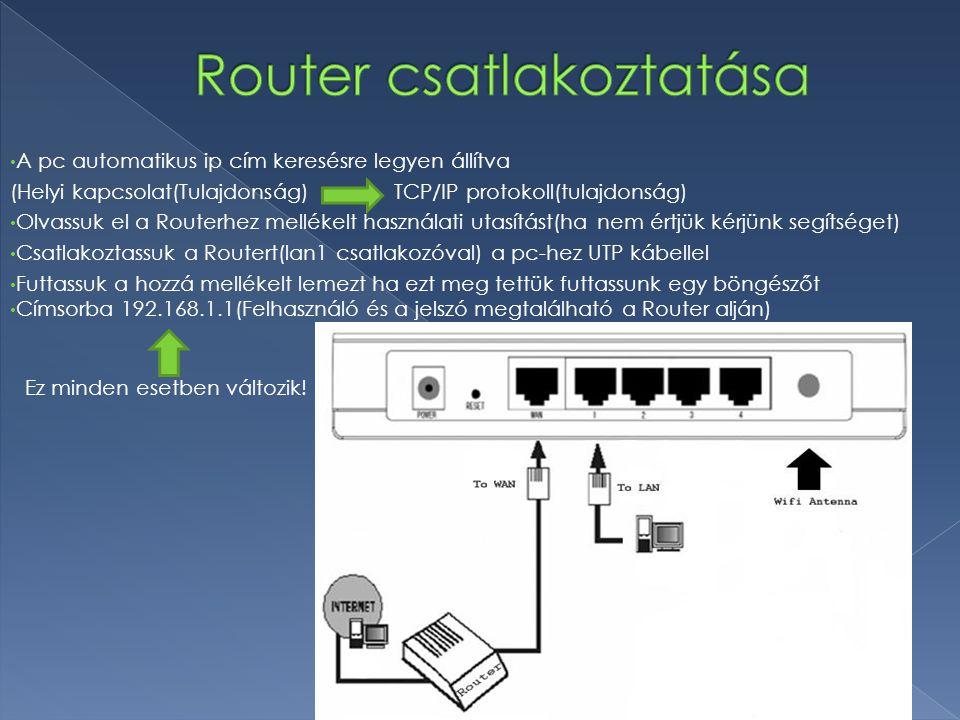 A pc automatikus ip cím keresésre legyen állítva (Helyi kapcsolat(Tulajdonság)TCP/IP protokoll(tulajdonság) Olvassuk el a Routerhez mellékelt használa