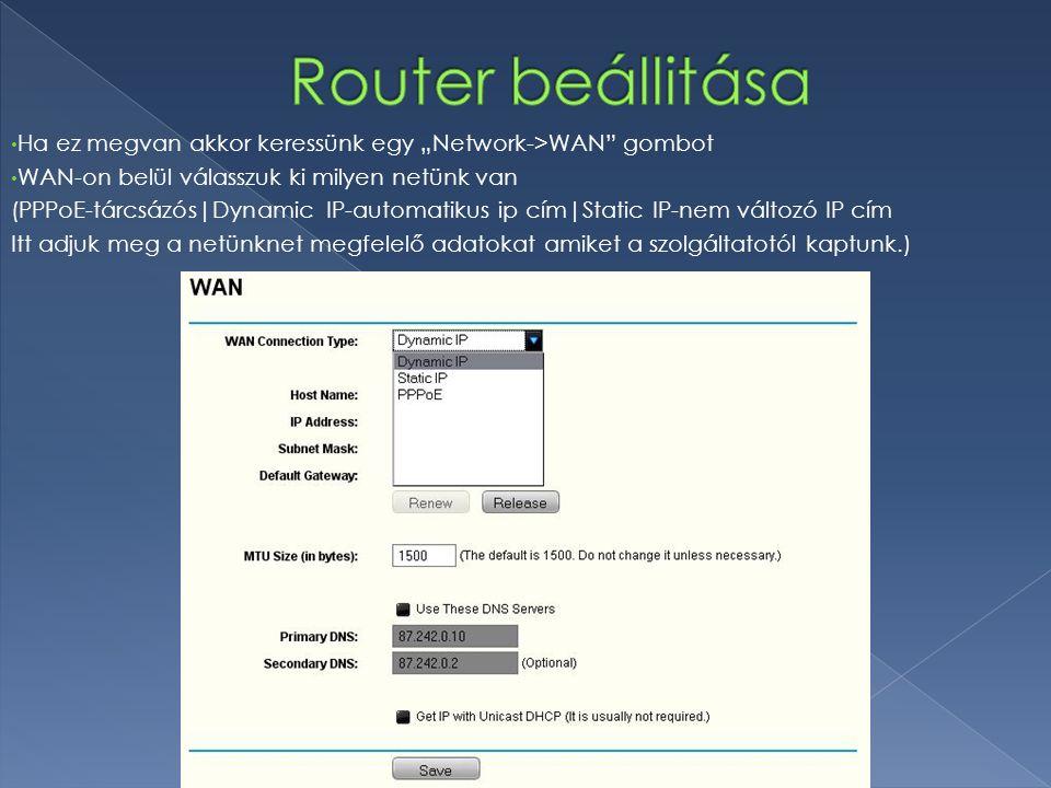 """PPPoE Username + Password-hoz a szolgáltatótól kapottat kell beírni Jelöljünk be a """"Connect automatically -t Majd utána mentsük (SAVE) Security->Firewall(Itt válasszuk az """"Enable Firewall -t) Majd utána mentsük (SAVE)"""