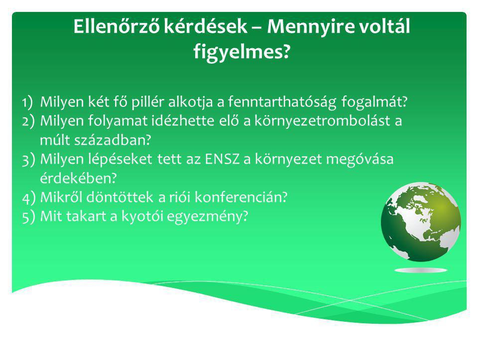 1)Milyen két fő pillér alkotja a fenntarthatóság fogalmát? 2)Milyen folyamat idézhette elő a környezetrombolást a múlt században? 3)Milyen lépéseket t